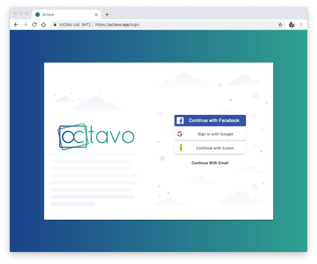 Octavo login screen including iLearn Malta button